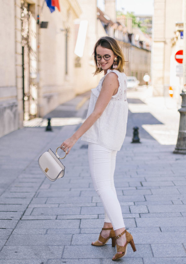 All White Outfit & Camel Sandals