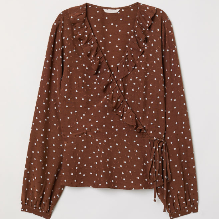 Chemisier à pois marron H&M