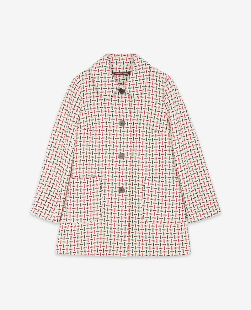 Manteau en tweed bleu rouge comptoir des cotonnier
