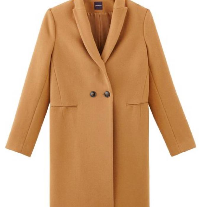 Manteau en laine long beige promod