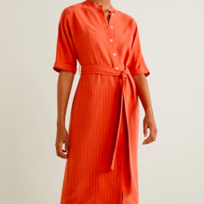 Robe chemise Mango rayures orange