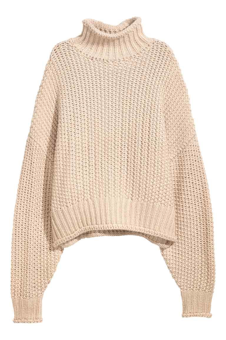 Pull chaud en maille H&M beige