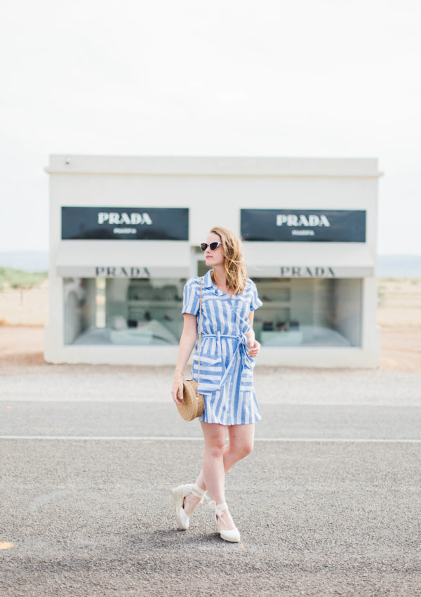 Vintage Striped Dress In Prada Marfa, TX