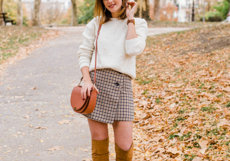Trendy Fall Outfit – Knee High Boots & Houndstooth Mini Skirt