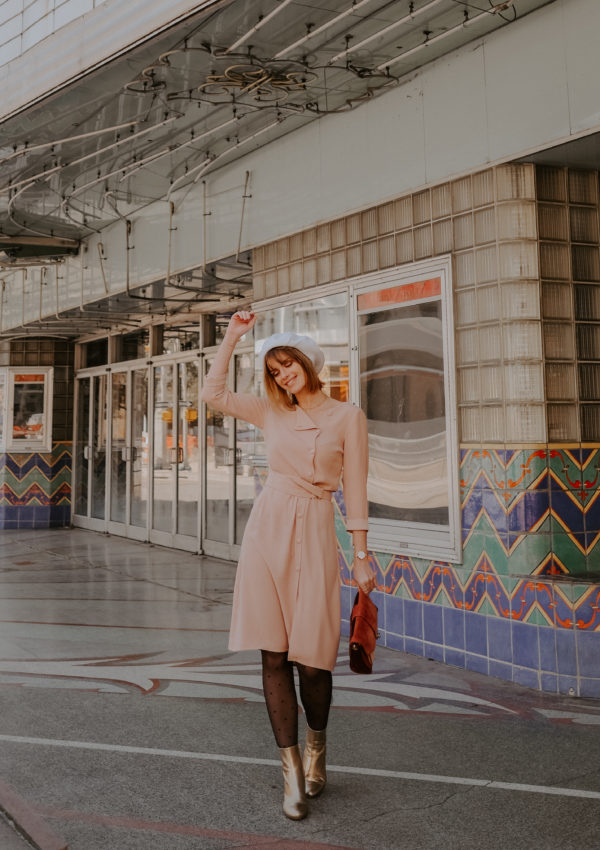 Blush Dress And Golden Boots