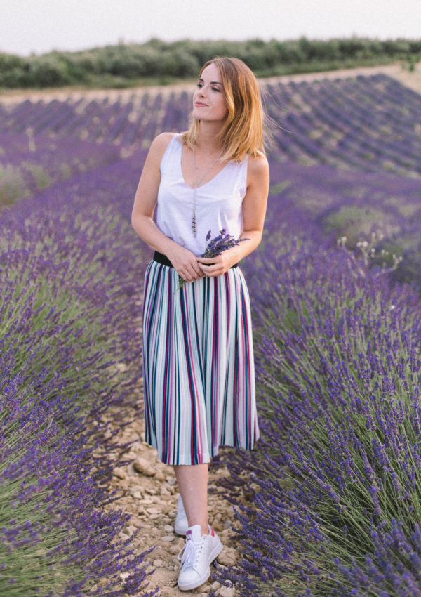 Pleated Skirt + Stan Smith In A Lavender Field