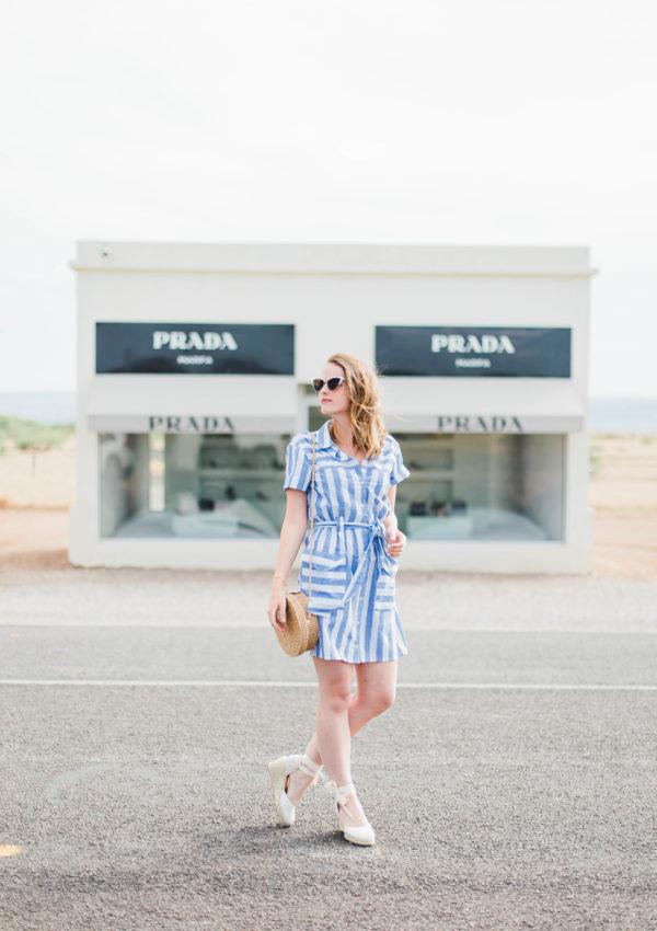 Vintage Striped Dress In Prada Marfa, TX